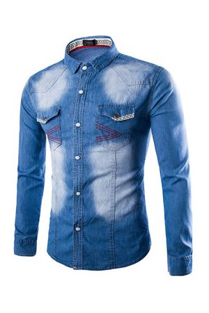 Newchic Fashion Slim Stone Washed Denim Designer Shirts for Men