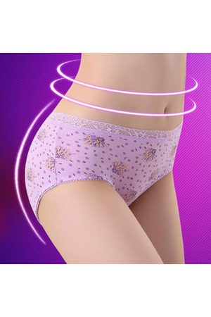 Newchic Cotton Mid Waist Lace Printed Antibacterial Hip-lifting Seamfree Panties