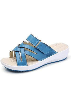 a2d3f4a73e4 Newchic Women Candy Color Leather Cross Summer Flat Platform Sandals