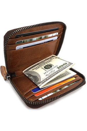 Newchic Genuine Leather 9 Card Slots Wallet Vintage Casual Card Holder Purse For Men