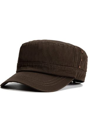 Newchic Men Sunshade Breathable Cotton Military Hat Travel Casual Solid Color Flat Cap