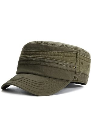 Newchic Men Caps - Men Vintage Cotton Zippered Military Hat Outdoor Casual Sunshade Flat Cap
