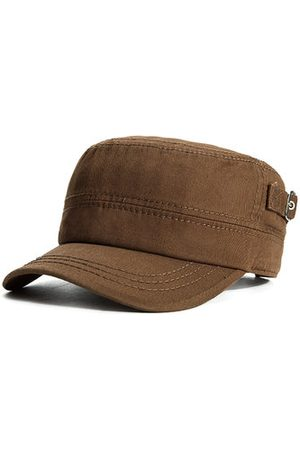 Newchic Men Retro Casual Sunscreen Cotton Military Hat Outdoor Sport Solid Color Flat Cap