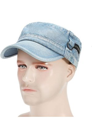 Newchic Men Retro Washed Denim Cotton Military Hat Outdoor Casual Breathable Soft Flat Cap