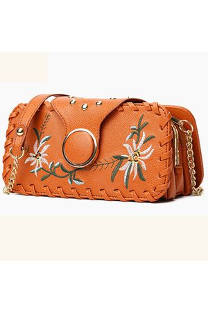 Newchic Women PU Leather Floral Embroidery Phone Bag Multi-pocket Crossbody Bag