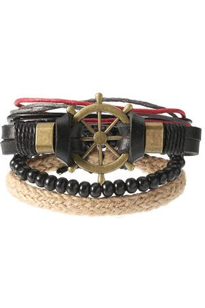 Newchic Men Bracelets & Bangles - Men's Punk Bracelet Retro Leather Rudder Anchor Bracelet
