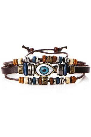 Newchic Men's Mutilayer Bracelet Punk Beaded Eyeball Hand Woven Bracelet