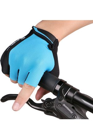 Newchic Mens Women Outdoor Mesh Breathable Short Fingerless Non-slip Bicycle Gloves