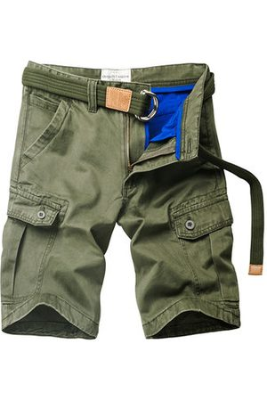 Newchic Mens Summer Outdoor Solid Color Multi-pocket Knee Length Beach Shorts Casual Cargo Shorts