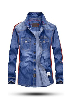 Newchic Casual Outdoor Soft Chest Pockets Loose Denim Cargo Shirts for Men