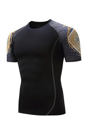Newchic Mens Quick-drying Skinny Fit Sleeves Stitching Tops Jogging Fitness Sport T-shirt