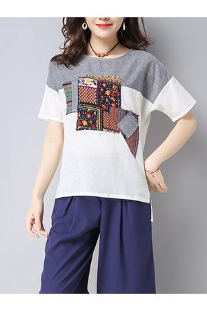 Newchic Casual Women Ethnic Print Patchwork Short Sleeve O-Neck Loose Shirts