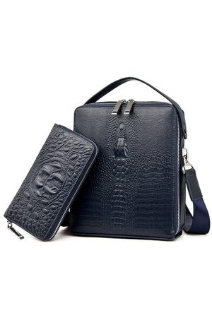 Newchic Men Laptop Bags - Genuine Leather Bag Large Capacity Crocodile Pattern Bag Business Briefcase iPad Bag For Men