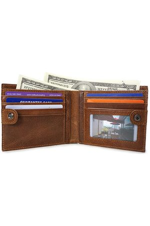 Newchic Men Wallets - Genuine Leather Wallet 10 Card Slots Coin Bag Vintage Removable Purse For Men
