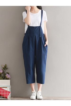 Newchic Casual Women Solid Strap Back Cross Pockets Jumpsuits