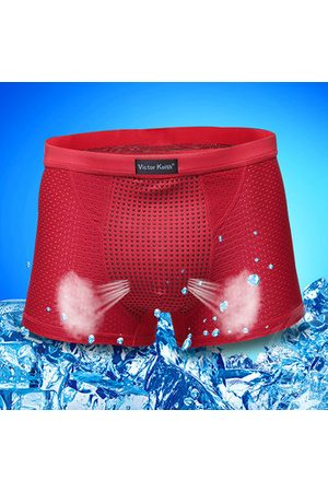 Newchic Ice Silk Mesh Breathable Cool Magnetotherapy Healthcare Boxers For Men
