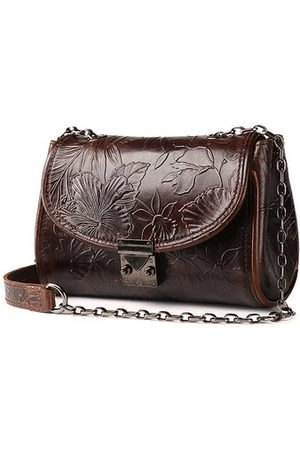 Newchic Genuine Leather Ethnic Lock Shoulder Bags Retro Chain Crossbody Bags Messenger Bags