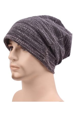 Newchic Mens Women Cotton Outdoor Slouch Beanie Hat Pure Color Knitted Striped Elastic Cap