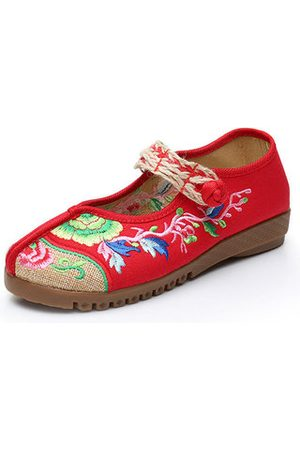 Newchic Women Loafers - Embroidered Flower Canvas Slip On Flat Vintage Shoes