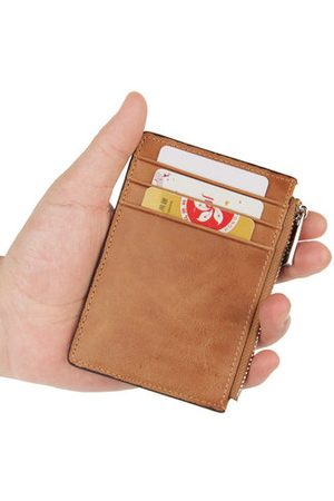 Newchic Geniune Leather Anti-magnetic RFID 3 Card holders Coin Purse For Men