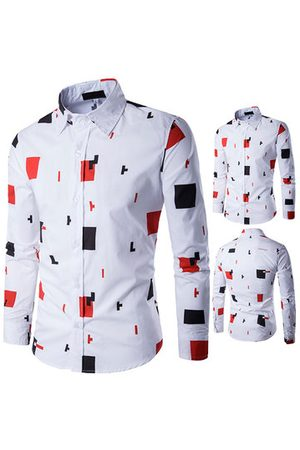 Newchic White Casual Stylish Printing Band Collar Designer Shirts for Men