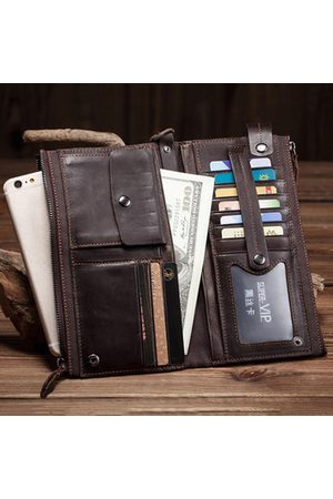 Newchic Long Section Retro Casual Cow Leather Wallet Long Section Clutch Bag For Men