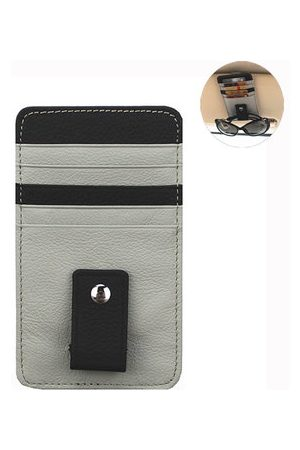 Newchic Men Wallets - Genuine Leather Car Sun Visor Glasses Clip Multi-functional Card Holder For Men