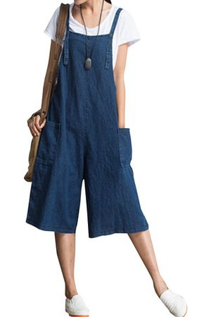 Newchic O-NEWE Loose Solid Strap Pocket Jumpsuit Trousers Overalls For Women