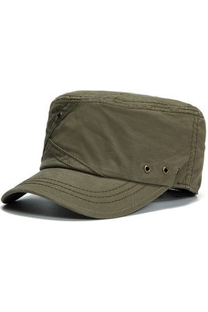 Newchic Mens Cotton Breathable With Ventilation Holes Flat Top Caps Outdoor Sunshade Military Army Hat
