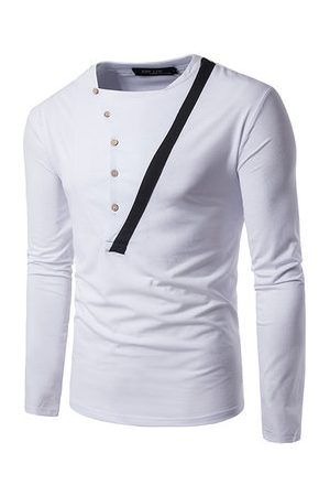 Newchic Mens Retro Hit Color Buttons Half-cardigan Casual T-shirt O-neck Long Sleeve Cotton Tops
