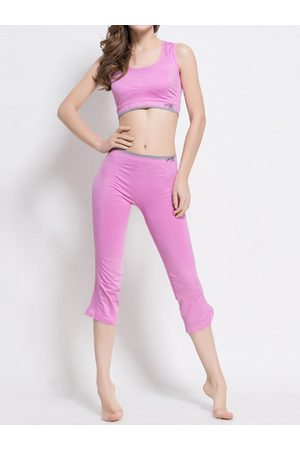 Newchic Women Tracksuits - Breathable Shockproof Solid Color Sports Yoga Tracksuit