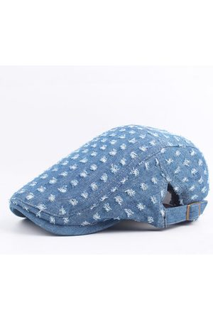 Newchic Mens Women Vintage Holes Washed Denim Beret Caps Casual Sunshade Newsboy Flat Hat