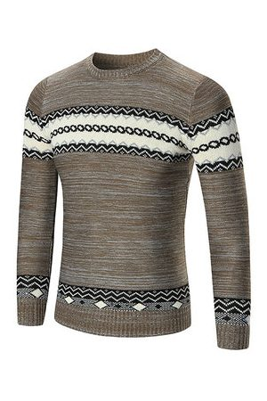 Newchic Mens Fall Winter National Style Printed Knitted Round Neck Long Sleeve Casual Sweater