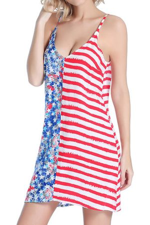 Newchic Women Beach Dresses - SWIMMART Stars and Striped Flag V-neck Backless Cover Up For Women