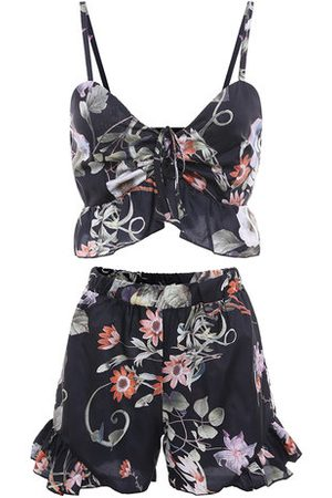 Newchic Sexy Women Floral Printed V-Neck Crop Top Shorts Suits