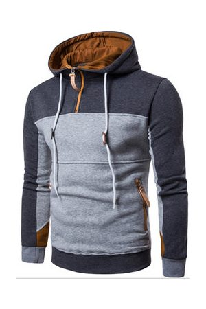 Newchic Mens Hoodies Hit Color Front Zipper Fashion Casual Sport Hooded Tops