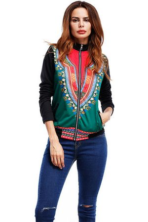Newchic Women Ethnic Printed Long Sleeeve Zipper Baseball Coats