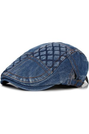 Newchic Mens Washed Denim Cowboy Stitching Grid Beret Hat Casual Travel Visor Forward Hat Adjustable