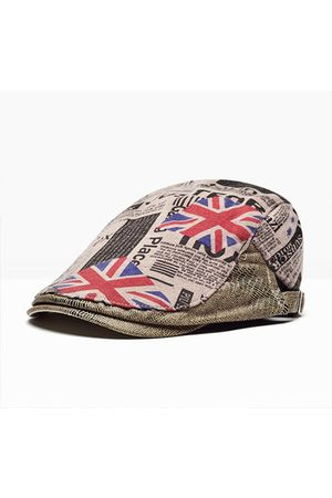 Newchic Men Hats - Men Vintage Breathable Forward Cotton Beret Cap Leisure Printing British Flag Pattern Hat