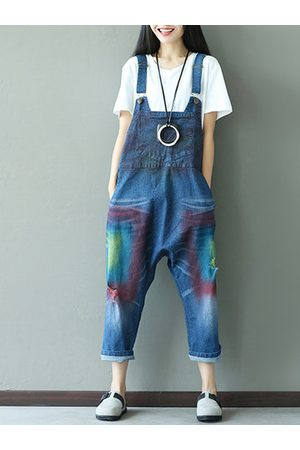 Newchic Casual Women Printed Strap Broken Hole Denim Jumpsuits Overalls