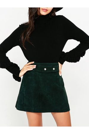 Newchic Basic Women High Collar Long Sleeve Ruffled Sweaters