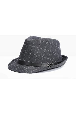 Newchic Men Hats - Mens Vintage British Grid Fedora Floppy Jazz Hat Casual Panama Bucket Hat