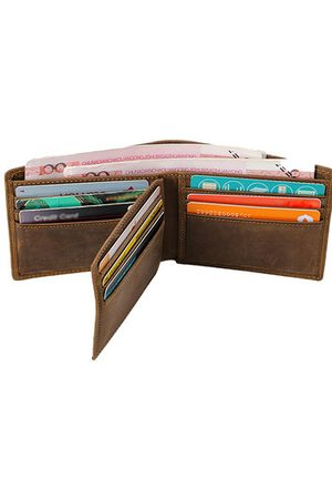 Newchic Genuine Leather 9 Card Slots Bifold Wallet Vintage First Layer Of Leather Card Package Purse For Men