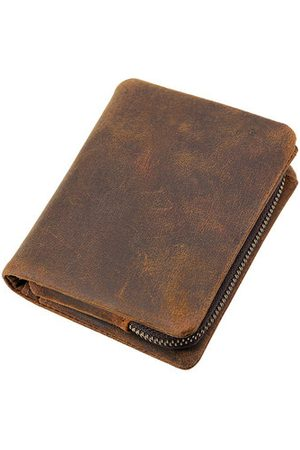 Newchic Genuine Leather Bifold Wallet Casual Vintage 10 Card Slots Removable Coin Bag Card Package For Men