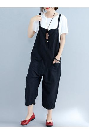 Newchic O-NEWE Strap Pocket Button Pure Color Jumpsuits For Women