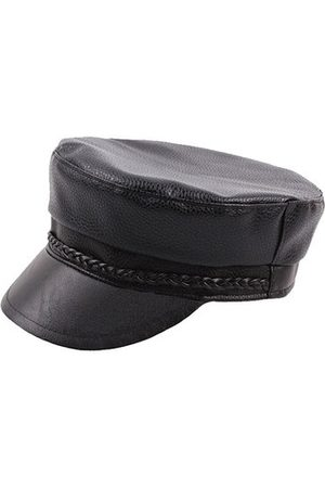 Newchic Men Genuine Leather Cowhide Flat Cap Solid Army Hats Classic Hand-Made Beret Cap Duck Cap