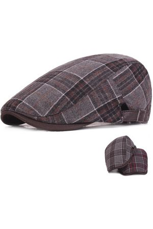 Newchic Mens Thicken Woolen Grid Warm Beret Caps Newsboy Tweed Plaid Gatby Painter Forward Hat Adjustable