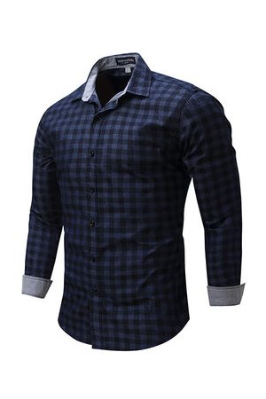 Newchic Men Casual - Slim Fit Bussiness Casual Checked Button Up Dress Shirt for Men