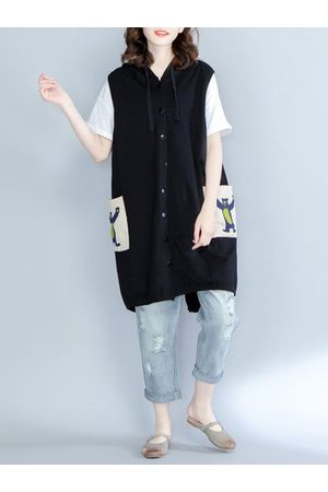 Newchic Casual Women Printed Hooded Button Back Split Long Vest