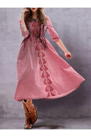 Newchic Vintage Women Embroidery Ethnic Half Sleeve Dresses